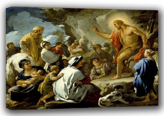 Giordano, Luca: Saint John the Baptist Preaching. Fine Art Canvas. Sizes: A4/A3/A2/A1 (001502)
